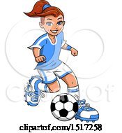 Clipart Of A Girl Playing Soccer Royalty Free Vector Illustration by Clip Art Mascots