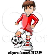 Clipart Of A Boy Playing Soccer Royalty Free Vector Illustration
