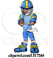 Clipart Of A Tough African American Football Player Holding A Ball Royalty Free Vector Illustration