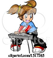 Clipart Of A Manga Girl Playing A Keyboard Royalty Free Vector Illustration