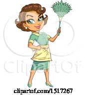 Clipart Of A Green Eyed Brunette Maid Holding Up A Feather Duster Royalty Free Vector Illustration