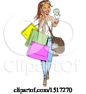 Clipart Of A Cartoon White Woman Holding A Coffee And Talking On A Phone While Carrying Shopping Bags Royalty Free Vector Illustration