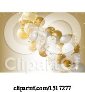 Poster, Art Print Of Golden Retirement Birthday Or Anniversary Party Background With Balloons And Ribbons