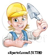 Clipart Of A Female Mason Holding A Trowel And Pointing Royalty Free Vector Illustration by AtStockIllustration