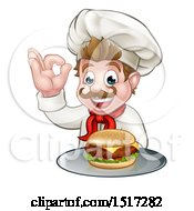 Cartoon Happy White Male Chef Gesturing Ok And Holding A Cheeseburger On A Tray