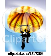 Clipart Of A Business Man Parachuting Against A Blue Sky Royalty Free Vector Illustration