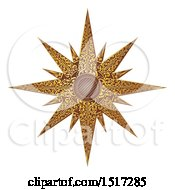 Woodcut Styled Golden Christmas Star