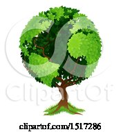 Clipart Of A Globe Tree With Continents Royalty Free Vector Illustration
