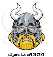 Clipart Of A Tough Blond Male Viking Warrior Face Wearing A Horned Helmet Royalty Free Vector Illustration by AtStockIllustration