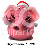 Clipart Of A 3d Naughty Pink Christmas Elephant Holding Up A Middle Finger On A White Background Royalty Free Illustration by Julos