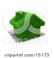 Environmentally Friendly Home Made Of Green Fuzzy Grass Clipart Illustration