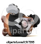 Clipart Of A 3d Gentleman Or Business Bulldog Holding A Cloud On A White Background Royalty Free Illustration