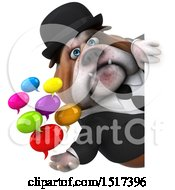 Clipart Of A 3d Gentleman Or Business Bulldog Holding Messages On A White Background Royalty Free Illustration