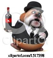 Clipart Of A 3d Gentleman Or Business Bulldog Holding Wine On A White Background Royalty Free Illustration