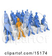Orange Person Standing Out In A Crowd Of Blue People Seated In Chairs During A Staff Meeting