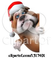 Clipart Of A 3d Christmas Bulldog Holding A Thumb Down On A White Background Royalty Free Illustration