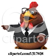 Clipart Of A 3d Chubby Brown Business Chicken Pointing On A White Background Royalty Free Illustration