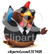 Clipart Of A 3d Chubby Brown Business Chicken Talking On A Cell Phone On A White Background Royalty Free Illustration