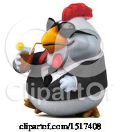 Poster, Art Print Of 3d Chubby White Business Chicken Drinking A Beverage On A White Background