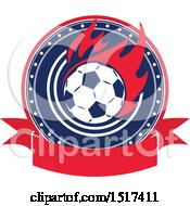 Clipart Of A Red White And Blue Soccer Design Royalty Free Vector Illustration