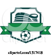 Clipart Of A Green And White Soccer Stadium Design Royalty Free Vector Illustration by Vector Tradition SM