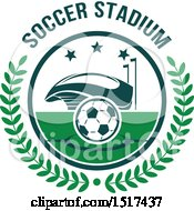 Clipart Of A Green And White Soccer Stadium Design Royalty Free Vector Illustration