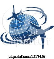 Clipart Of A Blue Globe With Planes And Flight Paths Royalty Free Vector Illustration