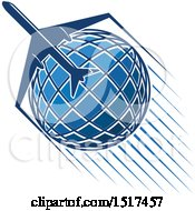Clipart Of A Blue Globe With A Plane And Flight Path Royalty Free Vector Illustration