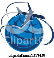 Clipart Of A Blue Globe With A Plane And Flight Path Royalty Free Vector Illustration by Vector Tradition SM