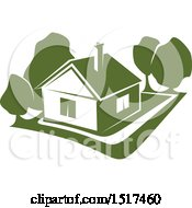 Clipart Of A Green Home Residence Royalty Free Vector Illustration by Vector Tradition SM