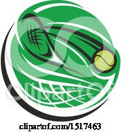 Clipart Of A Green Tennis Racket And Ball Design Royalty Free Vector Illustration