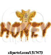 Clipart Of A Bee With Honey Text Royalty Free Vector Illustration by Vector Tradition SM