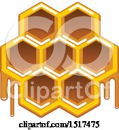 Clipart Of A Dripping Honeycomb Royalty Free Vector Illustration by Vector Tradition SM