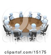 Group Of Light Blue People Holding A Meeting At A Large Conference Table In An Office