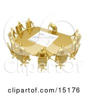 Group Of Gold People Seated And Holding A Meeting At A Golden Conference Table While The Boss Reviews A Financial Chart