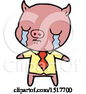 Cartoon Pig Crying Wearing Shirt And Tie