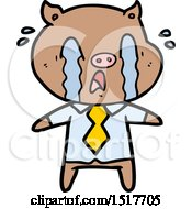 Crying Pig Cartoon Wearing Human Clothes