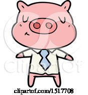Cartoon Content Pig In Shirt And Tie