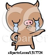 Cartoon Pig Crying Pointing