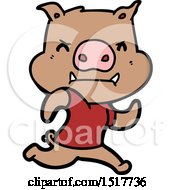 Angry Cartoon Pig Running