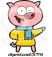 Cheerful Pig Wearing Winter Clothes Cartoon