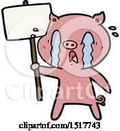 Crying Pig Cartoon With Protest Sign