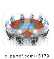 Group Of Light Blue People Holding A Meeting And Trying To Solve A Jigsaw Around A Large Rectangular Conference Table In An Office Clipart Illustration Image