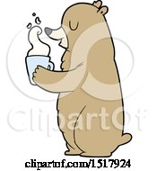 Cartoon Bear With Hot Drink