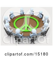 Group Of Light Blue People Holding A Meeting At A Large Rectangular Conference Table With A Green Peace Symbol On It In An Office Clipart Illustration Image