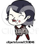 Cartoon Vampire Girl With Blood On Cheek by lineartestpilot
