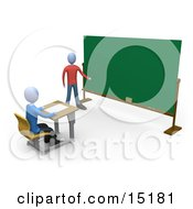 Blue Teacher Standing In Front Of A Blank Chalkboard And Using A Pointer Stick While Teaching A Single Student Clipart Illustration Image