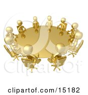 Group Of Gold People Seated And Holding A Meeting At A Round Golden Conference Table Clipart Illustration Image