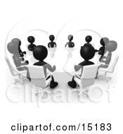 Group Of Black Figured People Seated And Holding A Meeting Around A White Reflective Conference Table