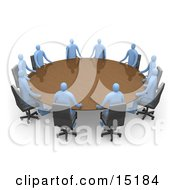Group Of Blue People Seated And Holding A Meeting At A Large Golden Conference Table Clipart Illustration Image